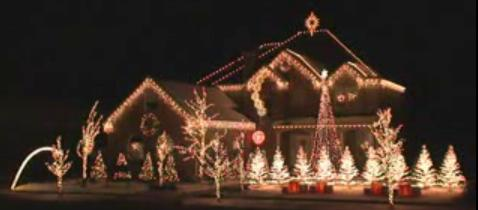 Christmas light display synchronized to music